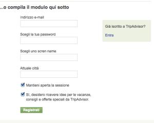 Form di registrazione per Tripadvisor
