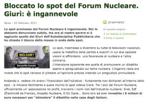 Greenpeace, Bloccato lo spot del Forum Nucleare Italiano