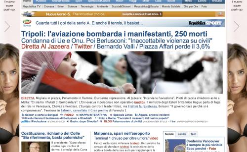 Repubblica home page 21 febbraio 2011
