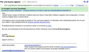 Bersani, mail del 10 giugno 2011