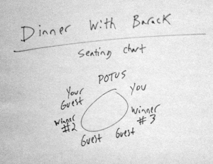 Dinner with Barack: schema dei posti a tavola