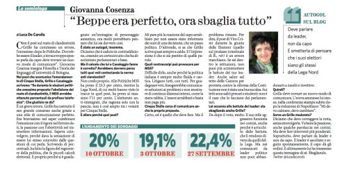Intervista sul Fatto Quotidiano 12 ottobre 2013