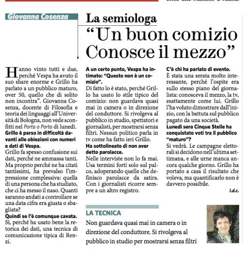 Intervista sul Fatto Quotidiano 21 maggio 2014